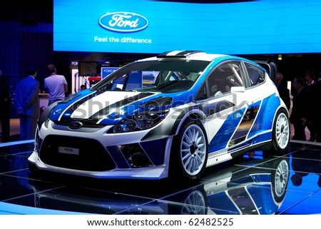PARIS, FRANCE - SEPTEMBER 30: Paris Motor Show on September 30, 2010 in Paris, showing Ford Fiesta WRC, front view