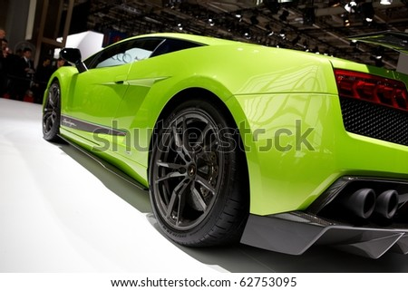 PARIS, FRANCE - SEPTEMBER 30: Paris Motor Show on September 30, 2010 in Paris, showing Lamborghini Gallardo LP560-4 Superleggera, rear closeup view