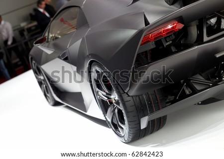 PARIS, FRANCE ? SEPTEMBER 30: Paris Motor Show on September 30, 2010 in Paris, showing Lamborghini Sesto Elemento Concept, rear detail view