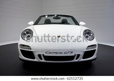PARIS, FRANCE - SEPTEMBER 30: Paris Motor Show on September 30, 2010 in Paris, showing Porsche 911 Carrera GTS Cabriololet, front view
