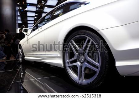 PARIS, FRANCE - SEPTEMBER 30: Paris Motor Show on September 30, 2010, Mercedes-Benz CL63 AMG, rear-side view