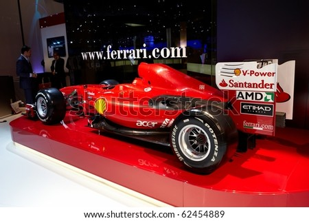 PARIS, FRANCE - SEPTEMBER 30: Paris Motor Show on September 30, 2010, showing Fernando Alonso?s Formula 1 Scuderia-Ferrari racing team car, rear view