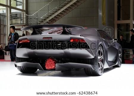 PARIS, FRANCE - SEPTEMBER 30: Paris Motor Show on September 30, 2010, showing Lamborghini Sesto Elemento Concept, rear view in Paris.