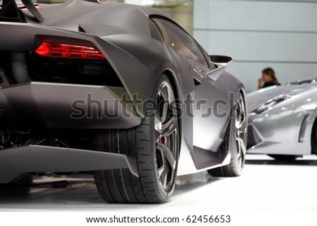 PARIS, FRANCE ? SEPTEMBER 30: Paris Motor Show on September 30, 2010, showing Lamborghini Sesto Elemento Concept, rear detail view