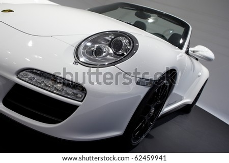 PARIS, FRANCE ? SEPTEMBER 30: Paris Motor Show on September 30, 2010, showing Porsche 911 Carrera GTS Cabriololet, front closeup view
