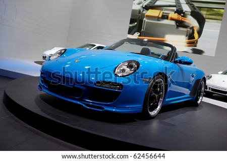 PARIS, FRANCE - SEPTEMBER 30: Paris Motor Show on September 30, 2010, showing Porsche 911 Speedster, front view