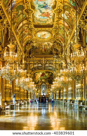 Paris, France - September 1, 2011: The great hall of the Opera Garnier palace. #403839601