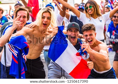 Paris, France. 15th July, 2018. Large crowds turn out in Paris to watch France win the World Cup. Paris, France.  #1250617390