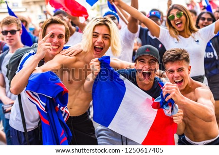 Paris, France. 15th July, 2018. Large crowds turn out in Paris to watch France win the World Cup. Paris, France.  #1250617405