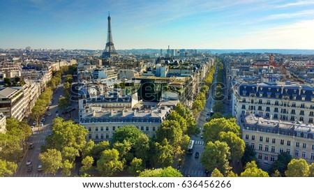 Paris - France. View from Arch of Triumph