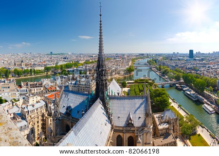 Paris from Notre Dame - stock photo