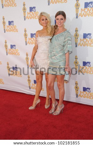 Paris Hilton and Nicky Hilton at the 2010 MTV Movie Awards Arrivals, Gibson Amphitheatre, Universal City, CA. 06-06-10