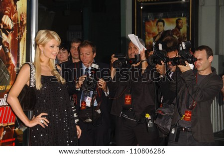 "Paris Hilton at the Los Angeles Premiere of ""Rush Hour 3"". Mann's Chinese Theater, Hollywood, CA. 07-30-07"
