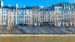 Paris, ile de la Cite and quai des Orfevres, beautiful ancient buildings, panorama