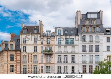 Paris, ile de la Cite and quai des Orfevres, beautiful buildings