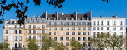 Paris, ile saint-louis and quai de Bethune, beautiful ancient buildings, panorama
