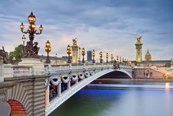 Paris. Image of the Alexandre III Bridge located in Paris, France.