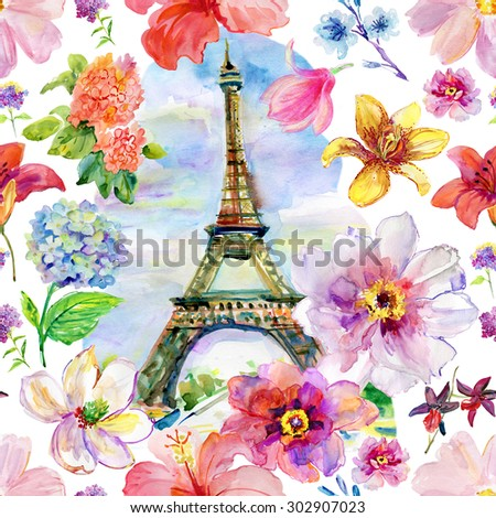 Paris in blossoming. The watercolor art paint on white background. seamless pattern