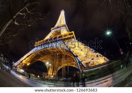 PARIS - JANUARY 01: Eiffel Tower illuminated at night, January 01, 2013, Paris, France. It was named after its creator - Gustave Eiffel.