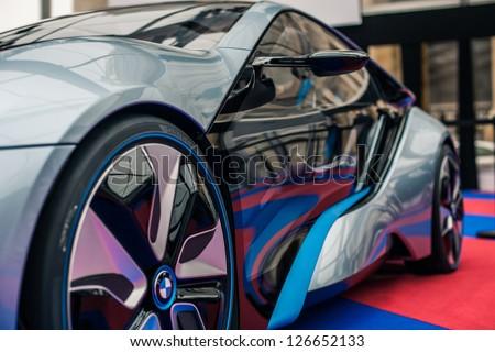 """PARIS - JANUARY 31 : Exposition """"Concept cars"""". Concept BMW I8, January 31, 2013 Paris, France. #126652133"""