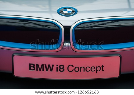 """PARIS - JANUARY 31 :Exposition """"Concept cars"""". Concept BMW I8, January 31, 2013 Paris, France."""