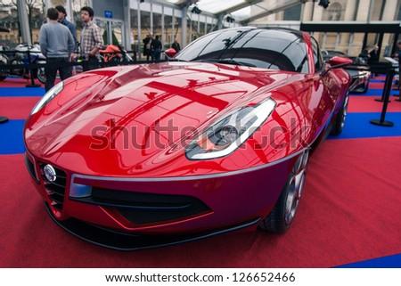 "PARIS - JANUARY 31 :Exposition ""Concept cars"". Concept CARROZERIA TOURING DISCO VOLANTE, January 31, 2013 Paris, France."