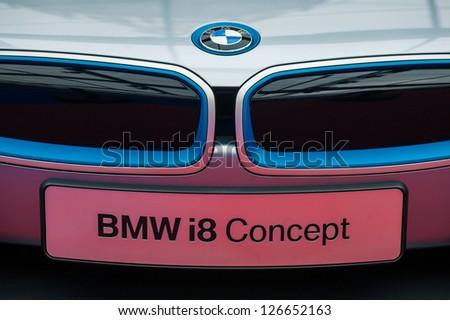 "PARIS - JANUARY 31 :Exposition ""Concept cars"". Concept BMW I8, January 31, 2013 Paris, France. - stock photo"