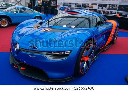 """PARIS - JANUARY 31 : Exposition """"Concept cars"""". Concept Renault Alpine A110-50, January 31, 2013 Paris, France. - stock photo"""