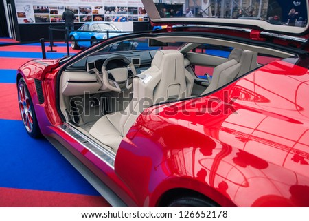"PARIS - JANUARY 31 :Exposition ""Concept cars"". Details of concept ITALDESIGN�¢?� �?GIUGIARO Brivido, January 31, 2013 Paris, France. - stock photo"