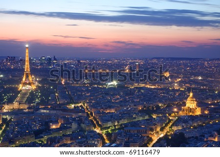 PARIS JULY 20 Eiffel tower hotel de at night on July 20 2010 in Paris The Eiffel tower is the most visited monument of France Cityscape with eiffel tower invalides and arch de triomphe