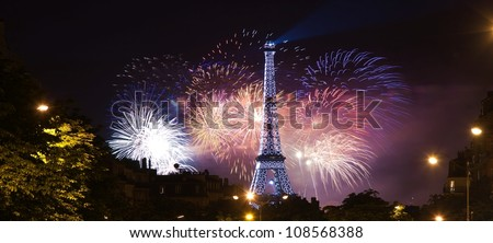 PARIS JULY 14 Eiffel Tower night scene in the National Holiday also known as Bastille Day evening fireworks July 14 2012 in Paris France