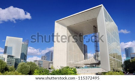 PARIS JULY 30 Grand Arch in most important business district La Defense on July 30 2012 in Paris France Project to build the Arch was supported by French president Mitterrand