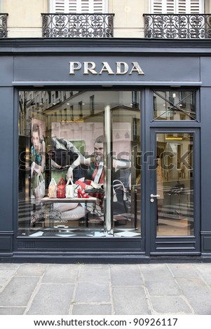 PARIS - JULY 24: Prada store on July 24, 2011 in Paris, France. The Italian fashion company is present in 65 countries with 250 single brand shops. It was founded in 1913.