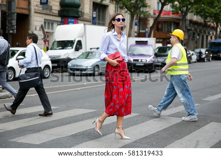 PARIS-JULY 8, 2015. Top model and stylist Clara Racz is going to a fashion show. Paris fashion week. Haute couture.