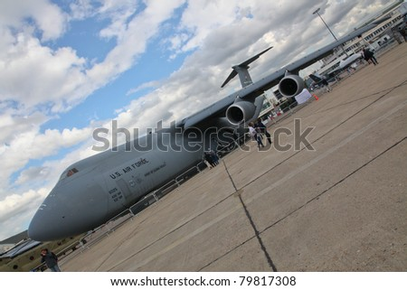 PARIS - JUN 23: Lockheed C-5M Super Galaxy on 49th Paris Air Show on June 23, 2011 in Paris, France.