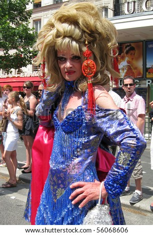 PARIS - JUNE 26: A cross dresser at the Paris Gay Pride parade to celebrate and demonstrate diversity, on June 26, 2010 in Paris, France.
