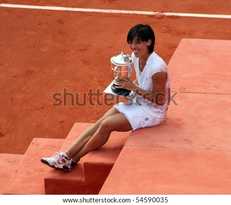 PARIS - JUNE 05: Francesca SCHIAVONE of Italy poses with her trophy after winning the women's singles final match of the French Open at Roland Garros on June 5, 2010 in Paris, France.