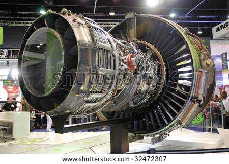 PARIS - JUNE 21: GEnx jet engine (turbofan) rear view at Le Bourget Air Show on June 21, 2009 in Paris, France. GEnx engine is chosen by Boeing for its 787 and 747-8 aircrafts.