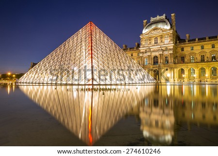 Paris June 18 Louvre museum at dusk on June 18 2014 in Paris This is one of the most popular tourist destinations in France displayed over 60 000 square meters of exhibition space