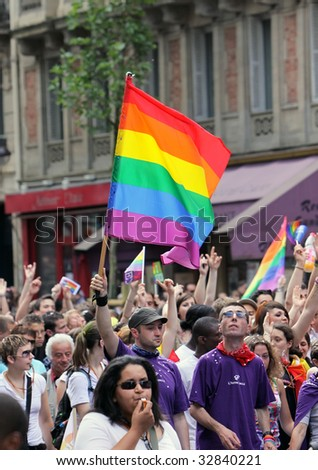 PARIS - JUNE 27: Participants take part in the Paris Gay Pride parade to support gay rights June 27, 2009 in Paris, France.
