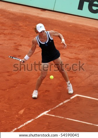 PARIS - JUNE 05: Samantha STOSUR of Australia returns the ball during the women's singles final match of the French Open at Roland Garros on June 5, 2010 in Paris, France.