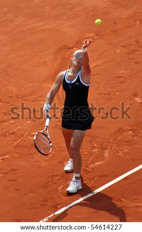 PARIS - JUNE 05: Samantha STOSUR of Australia serves during the women's singles final match of the French Open at Roland Garros on June 5, 2010 in Paris, France.