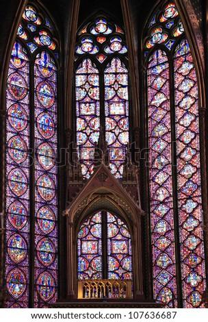 PARIS - JUNE 05: The Sainte-Chapelle in Paris, June 05, 2012. This 1246 inspired monument features 15 wonderful stain-glass windows in Paris.