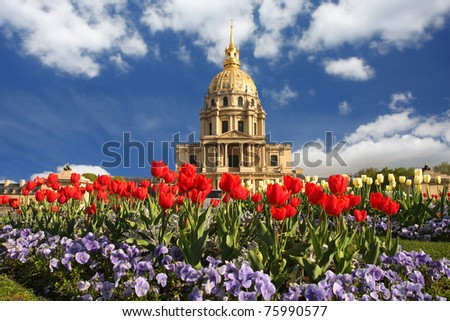 Paris, Les Invalides in spring time, famous landmark, France