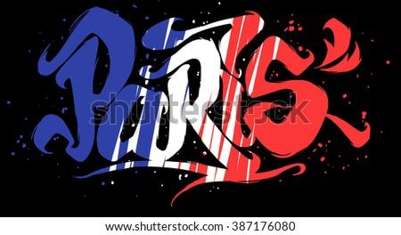 Paris lettering. Flag of France.