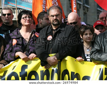 PARIS - MARCH 19: French CFD trade union General Secretary Francois Chereque (center) participates in France's nationwide,to demand social security measures, on March 19, 2009, in Paris, France