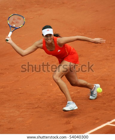 PARIS - MAY 27: Ana IVANOVIC of Serbia in action during the 2nd round match at French Open, Roland Garros on May 27, 2010 in Paris, France.