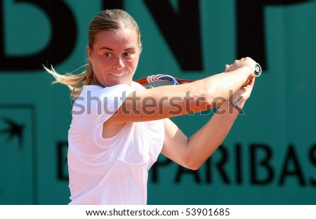 PARIS - MAY 20: Anastasiya YAKIMOVA of Belarus plays the 2nd round qualification match at French Open, Roland Garros on May 20, 2010 in Paris, France.