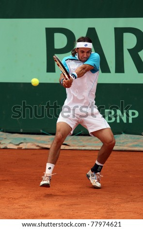 PARIS - MAY 20: Antonio Veic of Croatia plays the 3rd round qualification match  at French Open, Roland Garros on May 20, 2011 in Paris, France.