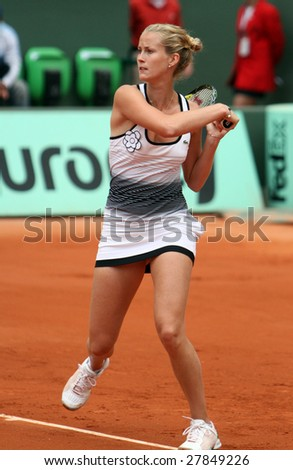 PARIS - MAY 24: France's professional tennis player MATHILDE JOHANSSON during her match at French Open, Roland Garros on May 24, 2008 in Paris, France.
